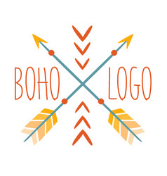 Ethnic logo boho style element hipster fashion vector