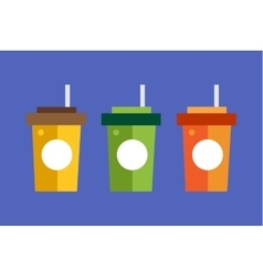 Fast food drinks pack set fruit drink logo icon vector