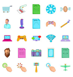 Game console icons set cartoon style vector
