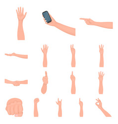 Gestures and their meaning cartoon icons in set vector