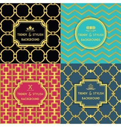 Golden trendy and stylish decoration patterns set vector image