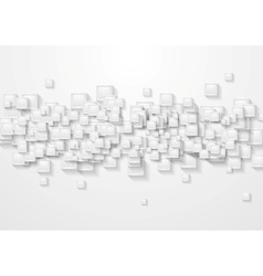 Grey squares abstract tech background vector
