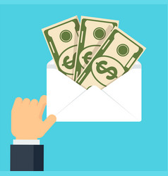 hand hold envelope with money vector image vector image