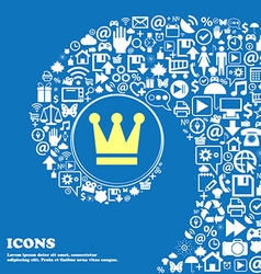King crown sign symbol nice set of beautiful icons vector