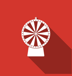Lucky wheel flat icon with long shadow vector