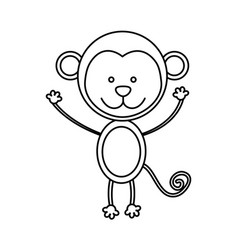 monochrome contour with male monkey vector image vector image