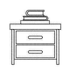 nightstand with stack books dotted silhouette on vector image