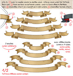 papyrus ribbons curved downwards two designs by vector image