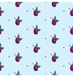 Plum branch with fruit seamless pattern vector image vector image