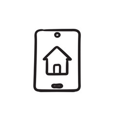 Property search on mobile device sketch icon vector