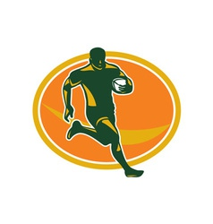Rugby player running ball silhouette vector