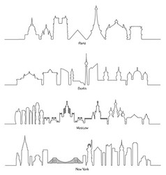 set of minimal linear skyline paris berlin vector image vector image