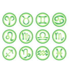 Set of zodiac signs in green color vector