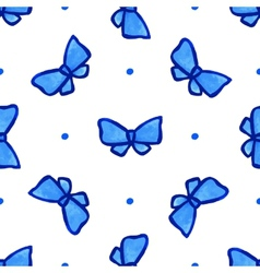 Sky blue seamless pattern with bow vector image vector image