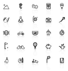 Slow life activity line icons with reflect on vector