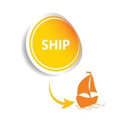 sticker ship orange vector image vector image