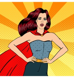 Super woman female hero superhero girl pop art vector