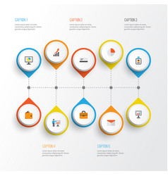 Trade flat icons set collection of payment vector