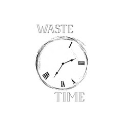 Waste time sign concept doodle retro watch dial vector
