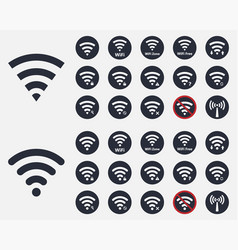 wireless icons set wifi signs vector image vector image