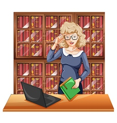 Woman with glasses in the library vector image vector image