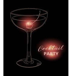 Hand drawn cocktail with cherry against dark vector