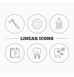Tooth mouthwash and dentinal tubules icons vector