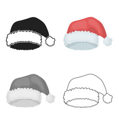 christmas cap icon in cartoon style isolated on vector image
