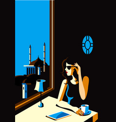waiting for the night vector image