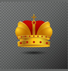 Icon of golden crown with red stones and vector