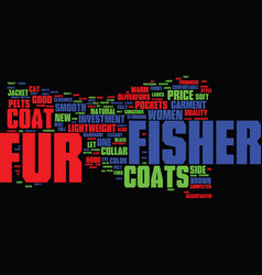 Fisher fur coats text background word cloud vector