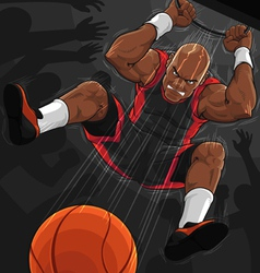Basketball player doing slam dunk vector