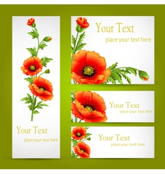 set of cards with poppy flowers vector image