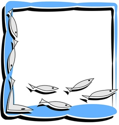 Simple frame with abstract fish vector