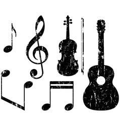 grunge music elements vector image