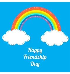 Rainbow happy friendship day white text vector