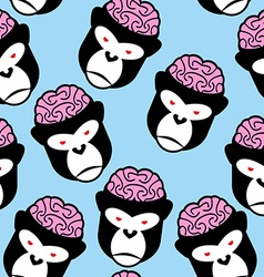 Gorilla seamless pattern monkey brains ornament vector