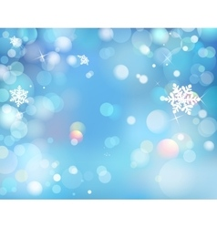 Blue Winter Shining Bokeh Background With vector image