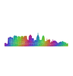 Philadelphia skyline - multicolor line art vector