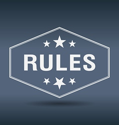 Rules hexagonal white vintage retro style label vector