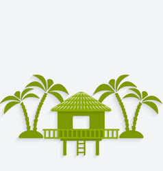 Bungalow with palm trees vector