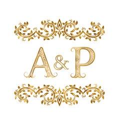 AP vintage initials logo symbol Letters A P vector image