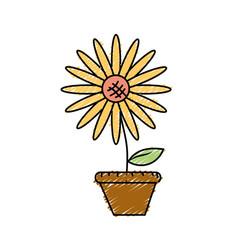Beautiful sunflower in the flowerpot vector