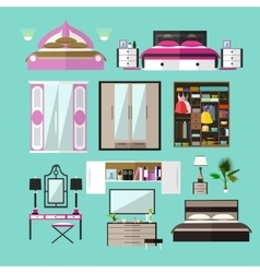 Bedroom interior objects in flat style vector image
