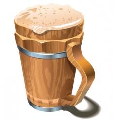 beer wooden cup vector image vector image