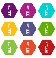 bottle of ketchup icon set color hexahedron vector image vector image