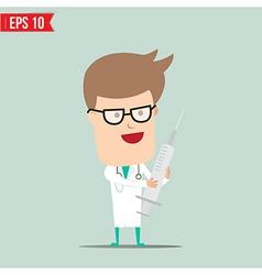 Cartoon doctor using syringe - - eps10 vector