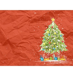 Christmas tree over red crumple background vector