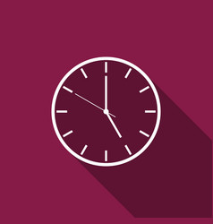clock flat icon with long shadow vector image vector image