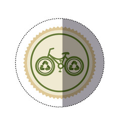 Color circular frame sticker with bike with vector